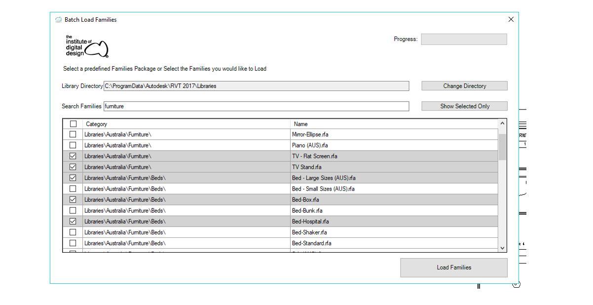 IDDA Toolbar - Batch Load Families